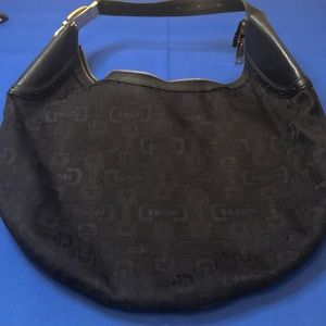Black Gucci Canvas Horsebit Hobo Style Bag